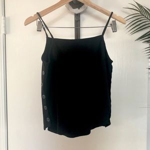 {Anthropologie} Black Crop Tank with Button Sides